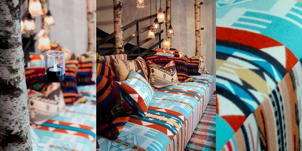 Banquette Oda et couvertures Navajo de chez Caravane