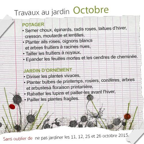 Liste des travaux au jardin en octobre