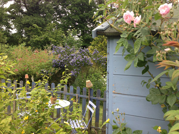 Salon de jardin près de la cabane